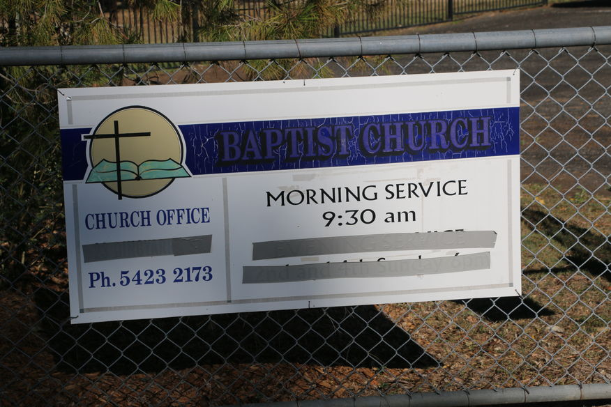 Toogoolawah District Baptist Church - Meeting Place Sign