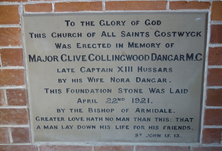 All Saints Anglican Church - Foundation Stone unknown date - Graham Wilson OAM - See Note.