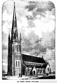 All Saints' Anglican Church - Proposed Building - Stub Spire only Built 22-08-1874 - The Sydney Mail and NSW Advertiser - See Note.