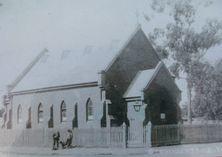 St Cuthbert's Anglican Church - Original Church 19-04-2018 - Photograph taken from Historical Plaque - John Conn