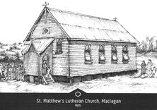 St Matthew's Lutheran Church 00-00-1935 - Painting By Nev Hopewell. Photographed:John Huth 5/8/2017