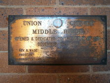 Union Church Middle Ridge - Plaque Unveiled at Re-opening 23-05-2018 - Noel Adsett
